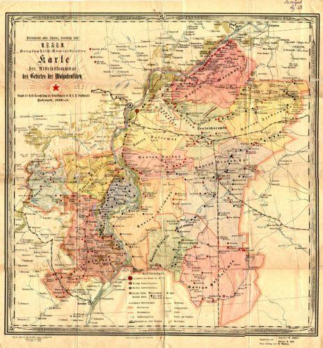Карта: Немецкая Поволжская коммуна в 1922 г.